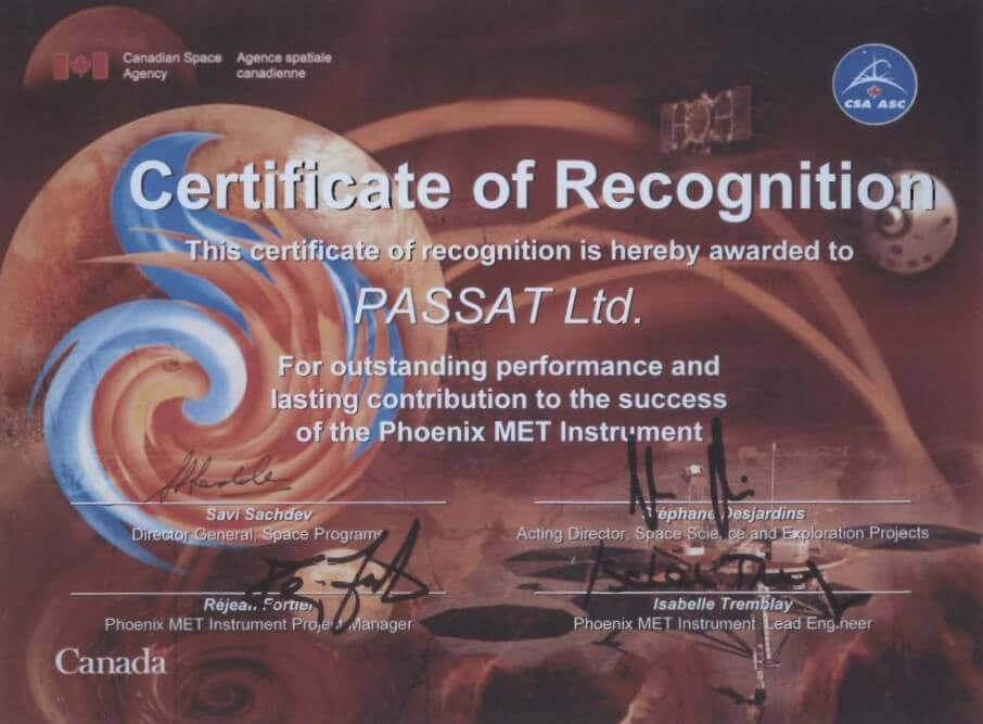 Canadian Spance Agency Certificate of Recognition